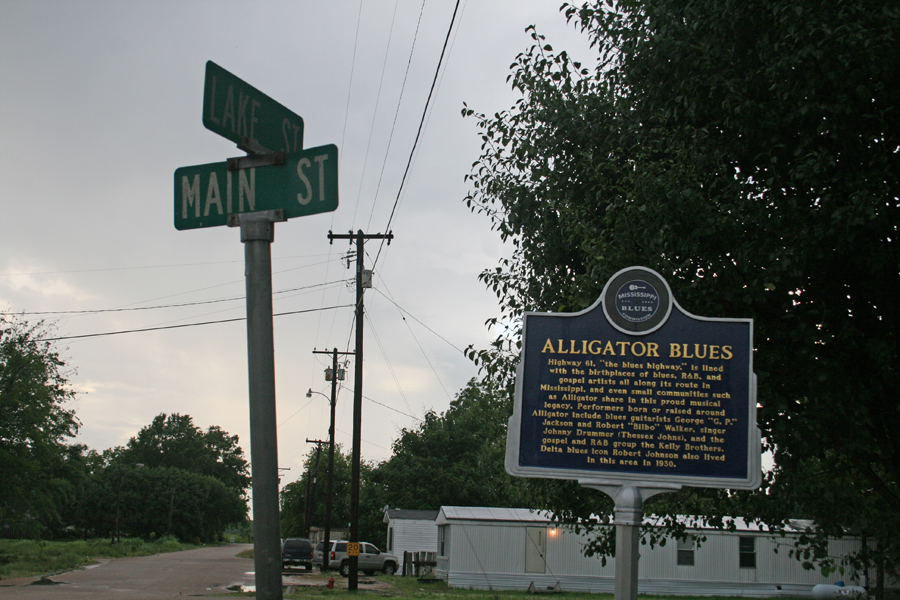 """Alligator Blues"" trail marker in Alligator, Mississippi"