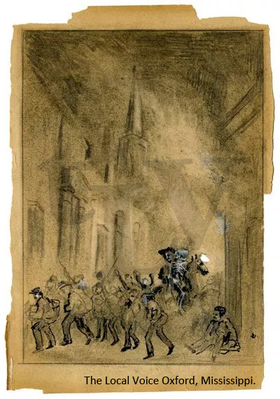 A sketch made of the Burning of Oxford in 1864 by Chaplin Elijah Edwards in his diary.