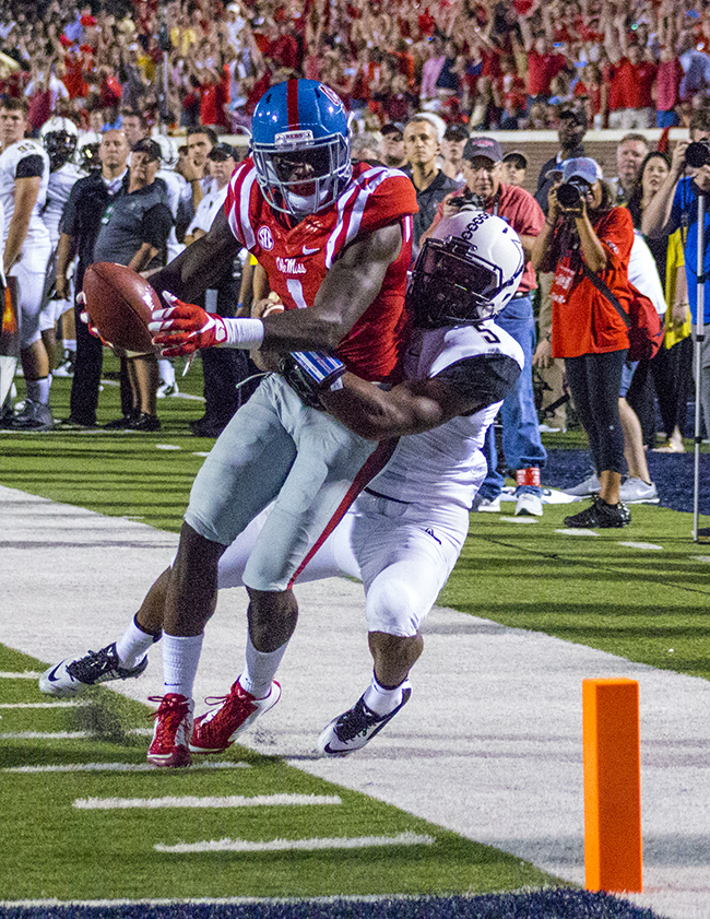 Ole Miss Receiver Laquon Treadwell had 135 Receiving Yards against Vanderbilt on Saturday, September 25, 2015. Photograph by Shelby Rayburn - © 2015 The Local Voice.