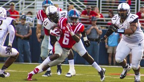 Ole Miss Wide Receiver Jaylen Walton in action against Vanderbilt, Saturday, September 25, 2015. Photograph by Shelby Rayburn.
