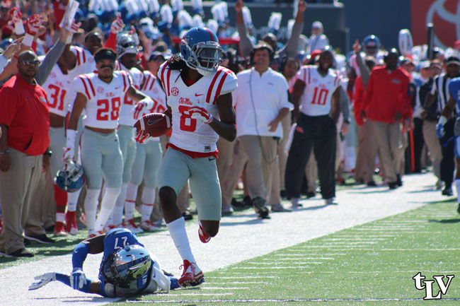 Quincy Adeboyejo had two receptions for 94 yards and one touchdown against Memphis. Photograph by Shelby Rayburn - © 2015 The Local Voice.
