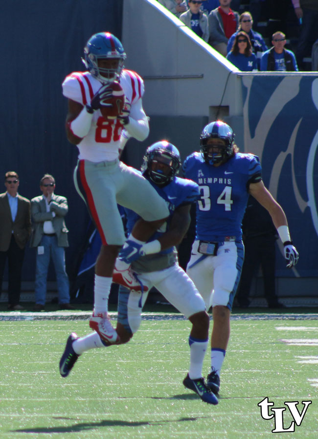 Core_01-650Ole Miss' Cody Core had six receptions for 83 yards against Memphis. Photograph by Shelby Rayburn - © 2015 The Local Voice.