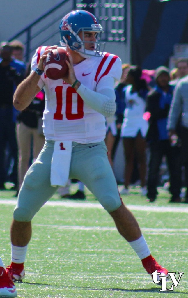 Chad Kelly (Swag) completed 33 of 47 passes against Memphis with 372 total passing yards. Photograph by Shelby Rayburn - © 2015 The Local Voice.