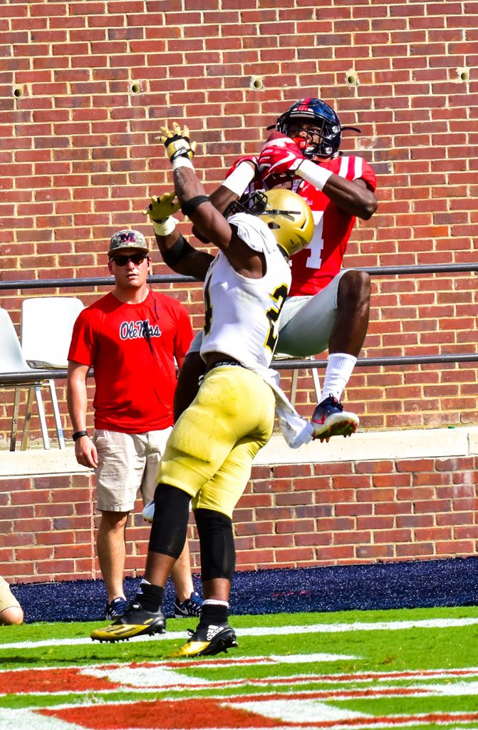 D.K. Metcalf rises for a touchdown reception. Photo credit: Shelby Rayburn