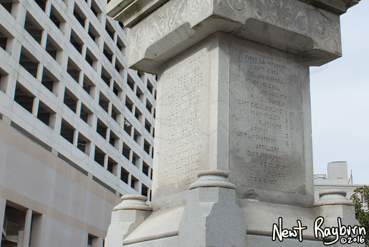 """The Battle of Liberty Place monument in New Orleans, Louisiana, January 2, 2016. Photograph © 2016 Newt Rayburn - newtrayburn@gmail.com. Inscription on the right side reads """"FIRST LA INFANTRY SEPT 4, 1874 (thirteen names of individuals)"""""""
