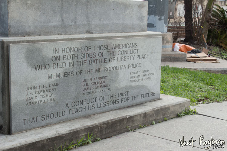 """The Battle of Liberty Place monument in New Orleans, Louisiana, January 2, 2016. Photograph © 2016 Newt Rayburn - newtrayburn@gmail.com. Inscription reads """"IN HONOR OF THOSE AMERICANS ON BOTH SIDES OF THE CONFLICT WHO DIED IN THE BATTLE OF LIBERTY PLACE. MEMBERS OF THE METROPOLITAN POLICE (Eleven names of individual officers who died) A CONFLICT OF THE PAST THAT SHOULD TEACH US LESSONS FOR THE FUTURE"""""""