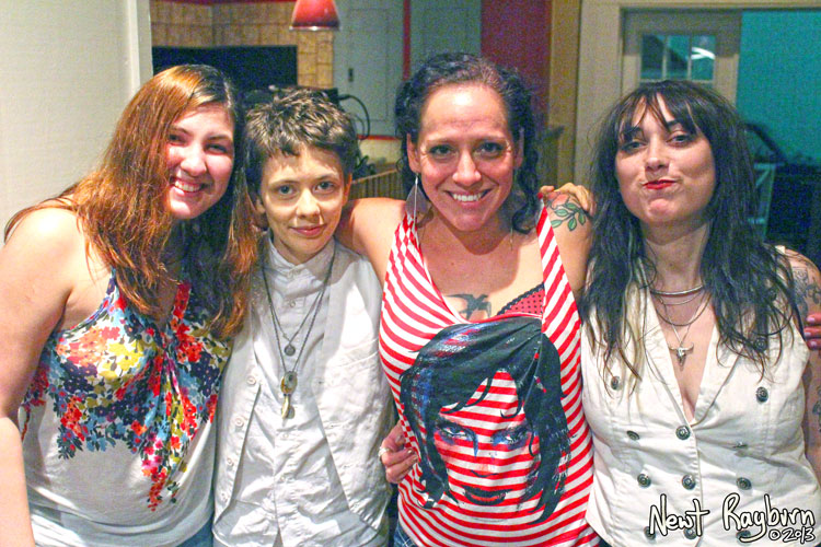 Shelby Bryant, Jessi Zazu of Those Darlins, The Local Voice Editor Nature Humphries, and Nikki Kvarnes of Those Darlins - Photograph by Newt Rayburn © September 5, 2013